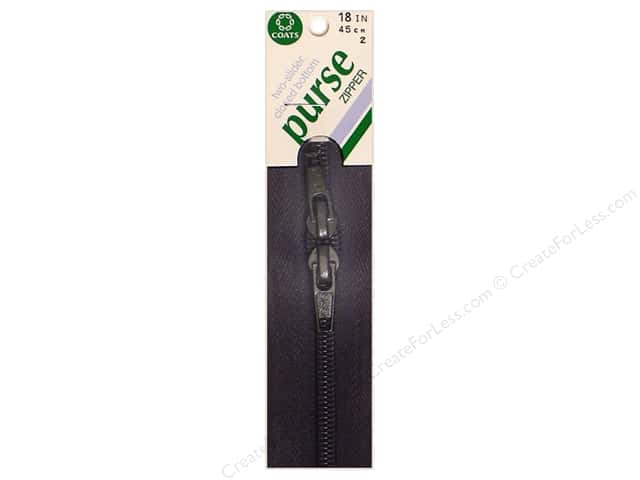 "Coats & Clark Purse Zipper 18"" 18"" Black"