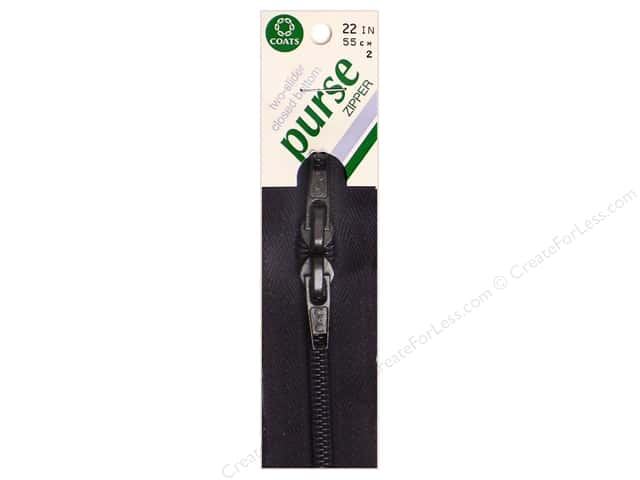 "Coats & Clark Purse Zipper 22"" 22"" Black"