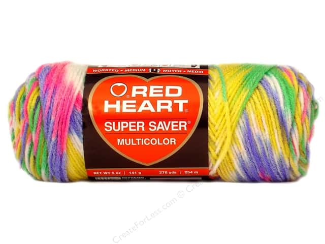 Red Heart Super Saver Yarn #0448 Sherbet Print 244 yd.