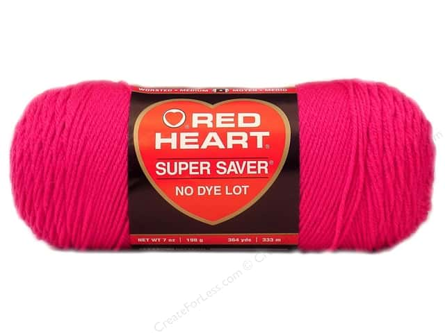 Red Heart Super Saver Yarn #0718 Shocking Pink 364 yd.