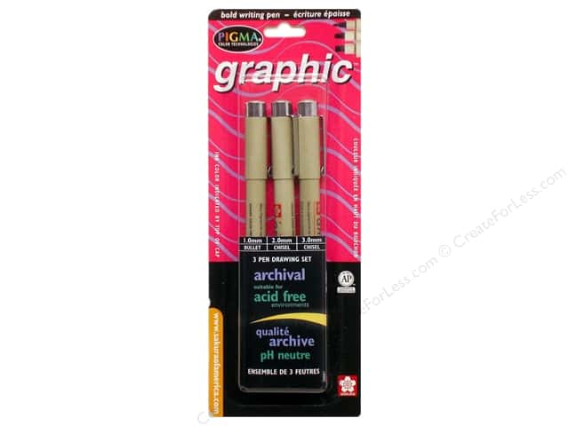 Sakura Pigma Graphic Pen Set 3 pc. Black