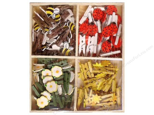 Lara's Wood Painted Mini Clothespin Assorted Garden 72pc.