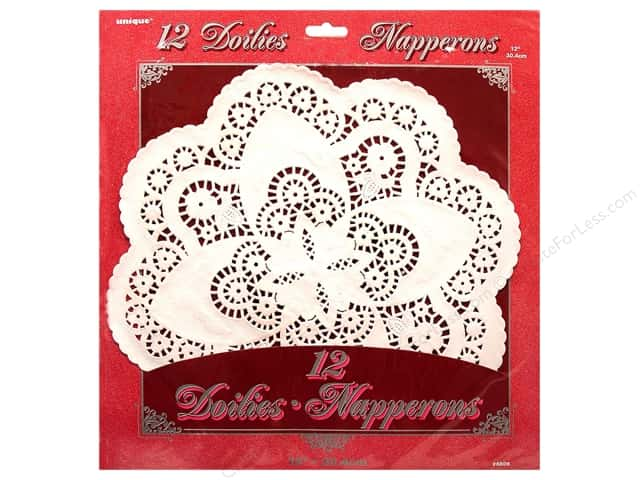 Unique Paper Lace Doilies Round 12 in. White 12 pc.