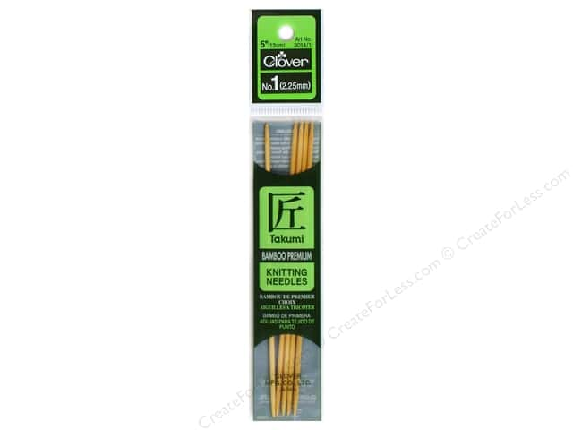 Clover Bamboo Knitting Needle Double Point 5 in. Size 1 (2.25mm) 5 pc.