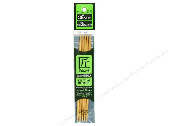 Clover Bamboo Knitting Needle Double Point 5 in. Size 3 (3.25mm) 5 pc.