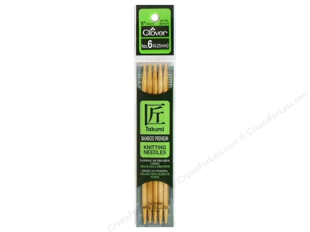 Clover Bamboo Knitting Needle Double Point 5 in. Size 6 (4.25mm) 5 pc.