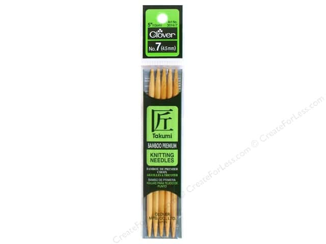Clover Bamboo Knitting Needle Double Point 5 in. Size 7 (4.5mm) 5 pc.