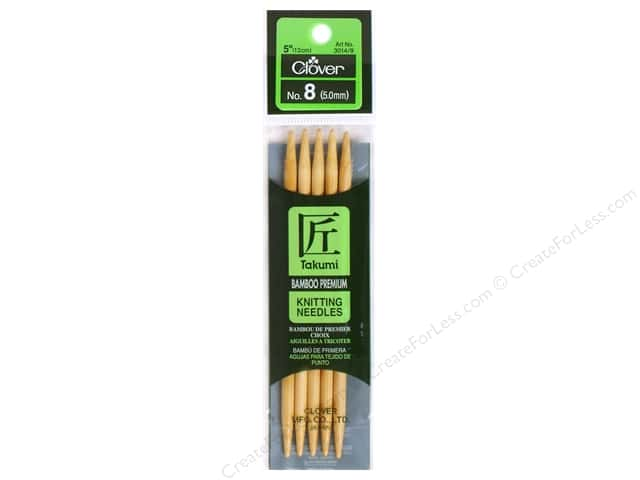 Clover Bamboo Knitting Needle Double Point 5 in. Size 8 (5.0mm) 5 pc.