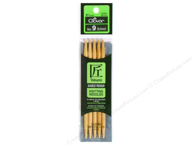 Clover Bamboo Knitting Needle Double Point 5 in. Size 9 (5.5mm) 5 pc.