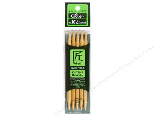 Clover Bamboo Knitting Needle Double Point 5 in. Size 10.5 (6.5mm) 5 pc.
