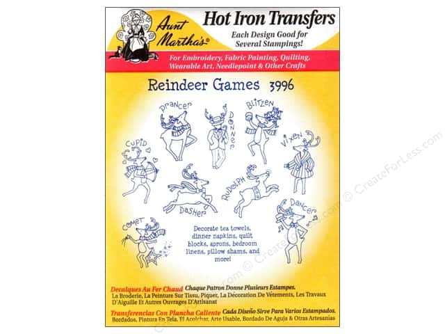 Aunt Martha's Hot Iron Transfer #3996 Reindeer Games