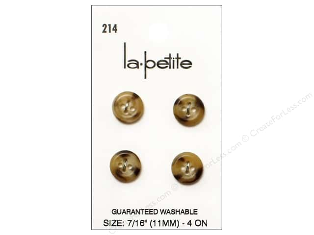 LaPetite 4 Hole Buttons 7/16 in. Beige #214 4pc.
