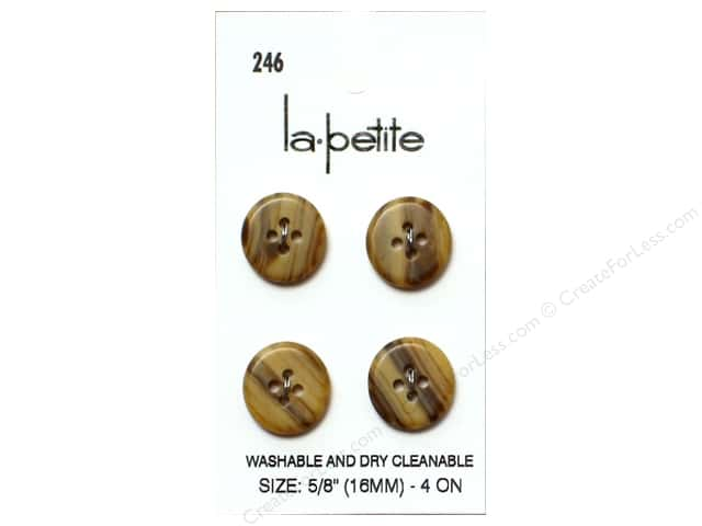 LaPetite 4 Hole Buttons 5/8 in. Tan #246 4pc.