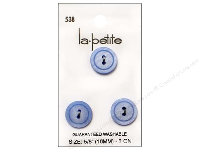 LaPetite 2 Hole Buttons 5/8 in. Blue #538 3pc.
