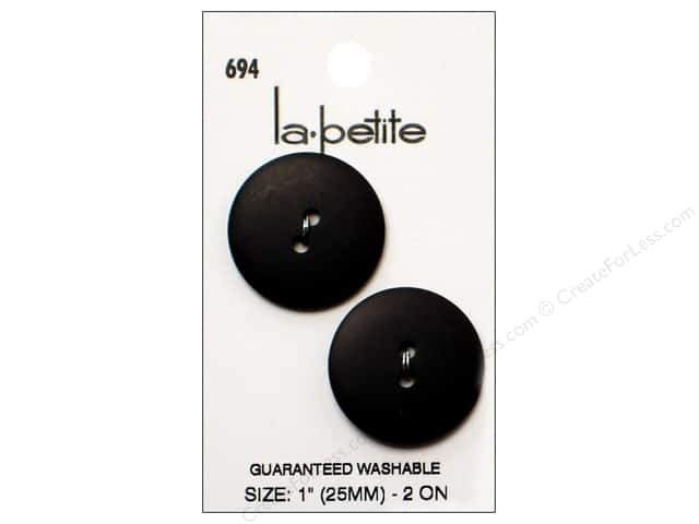 LaPetite 2 Hole Buttons 1 in. Black #694 2pc.