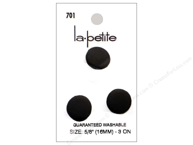 LaPetite Shank Buttons 5/8 in. Black #7013pc.