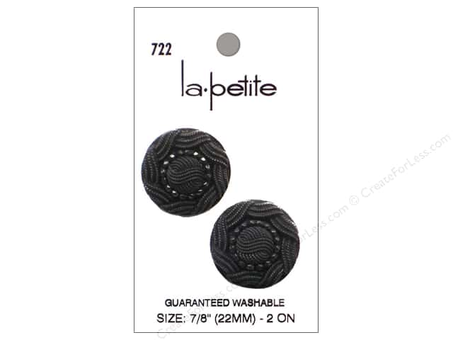 LaPetite Shank Buttons 7/8 in. Black #722 2pc.