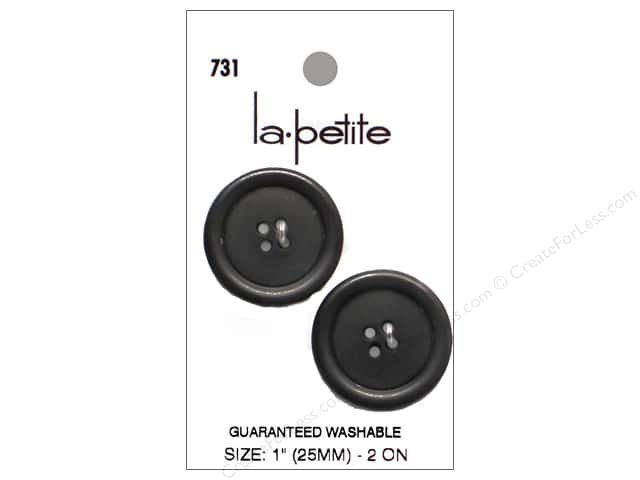 LaPetite 4 Hole Buttons 1 in. Black #731 2pc.