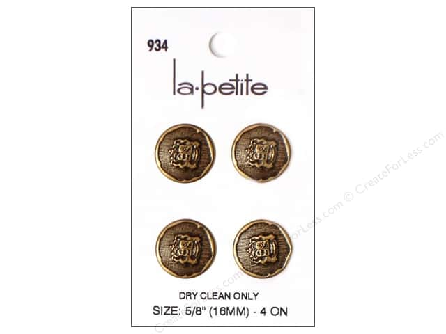 LaPetite Shank Buttons 5/8 in. Gold with Crest #934 4pc.