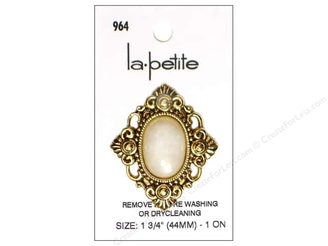 LaPetite Shank Buttons 1 3/4 in. Antique Gold/White #964 1 pc.