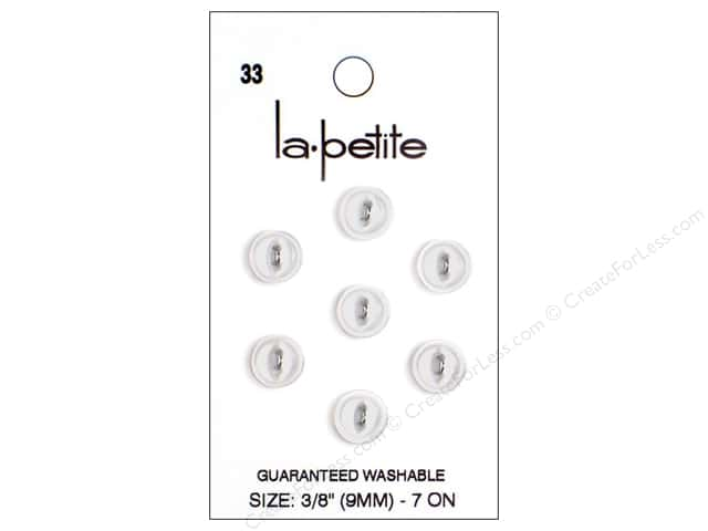 LaPetite 2 Hole Buttons 3/8 in. White #33 7pc.