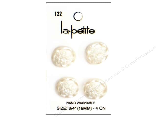 LaPetite Shank Buttons 3/4 in. Pearlized White #122 4pc
