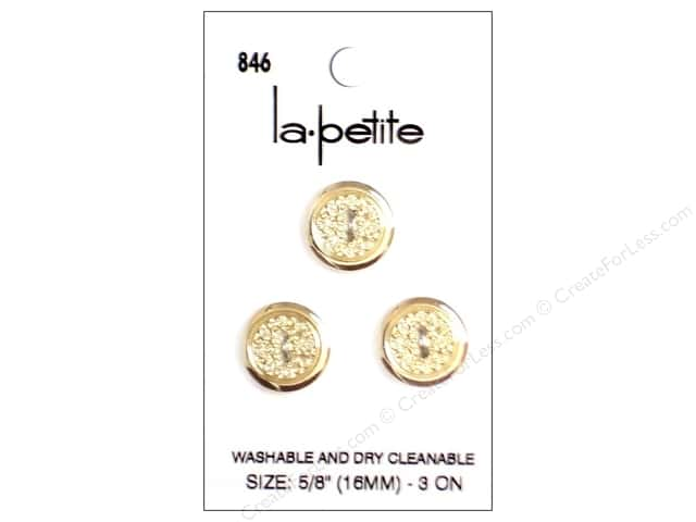 LaPetite 2 Hole Buttons 5/8 in. Gold #846 3pc.
