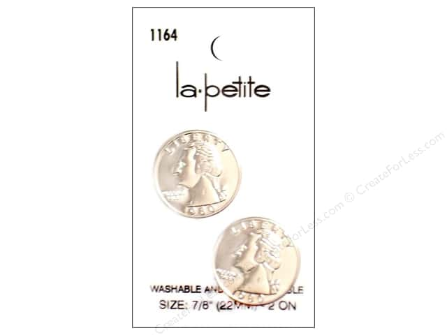 LaPetite Shank Buttons 7/8 in. Silver Quarter #1164 2pc