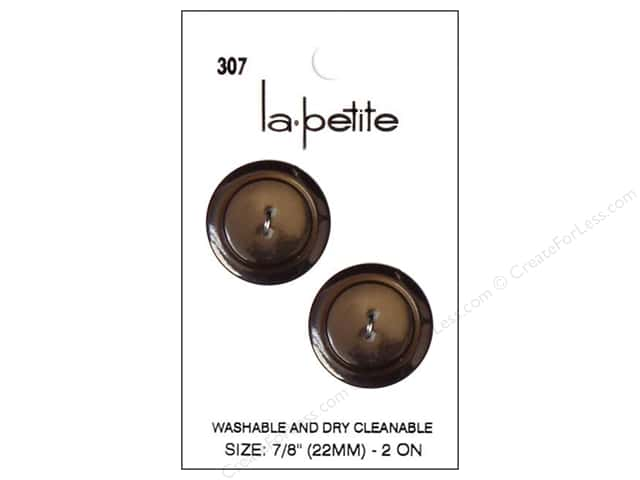 LaPetite 2 Hole Buttons 7/8 in. Brown #307 2pc.