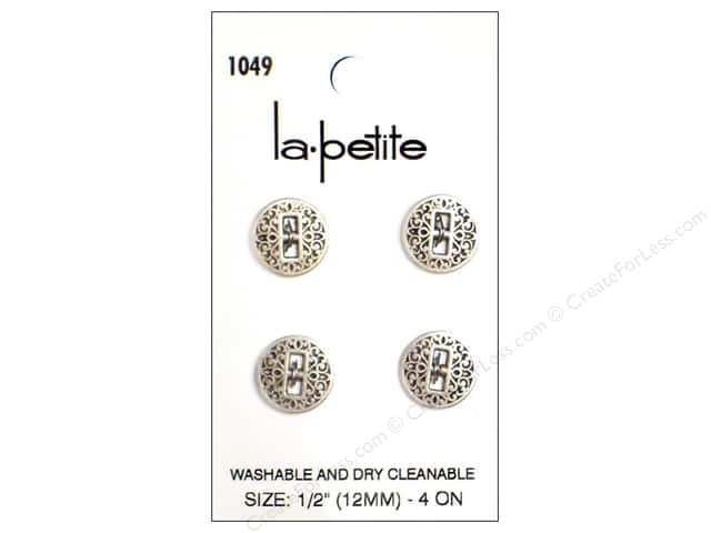 LaPetite 2 Hole Buttons 1/2 in. Antique Silver #1049 4pc.