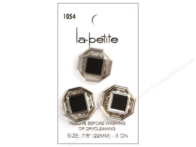 LaPetite Shank Buttons 7/8 in. Antique Silver/Black #1054 3 pc.