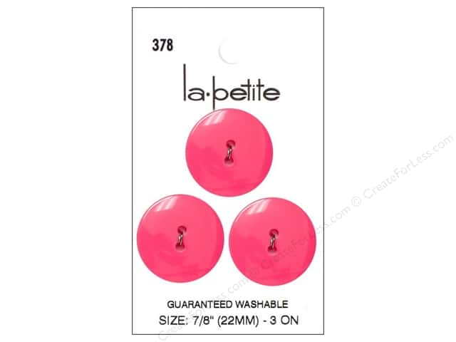 LaPetite 2 Hole Buttons 7/8 in. Pink #378 3pc.