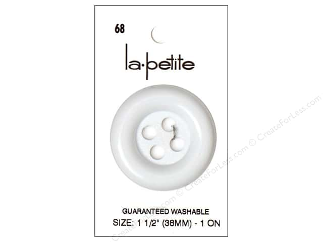 LaPetite 4 Hole Buttons 1 1/2 in. White #68 1pc.