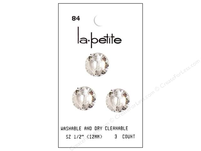 LaPetite Shank Buttons 1/2 in. Crystal #84 3pc.