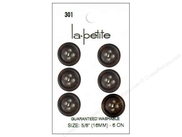 LaPetite 4 Hole Buttons 5/8 in. Brown #301 6pc.