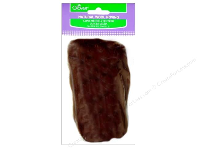 Clover Natural Wool Roving .7 oz. Brown
