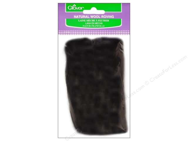 Clover Natural Wool Roving .7 oz. Black