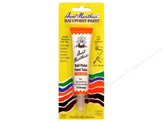Aunt Martha's Ballpoint Paint Tube 1 oz. Orange