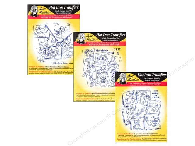Aunt Martha's Hot Iron Transfers Black Assortment Cross Stitch and Quilts