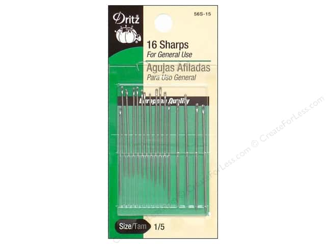Sharps Needles by Dritz Size 1/5 16pc