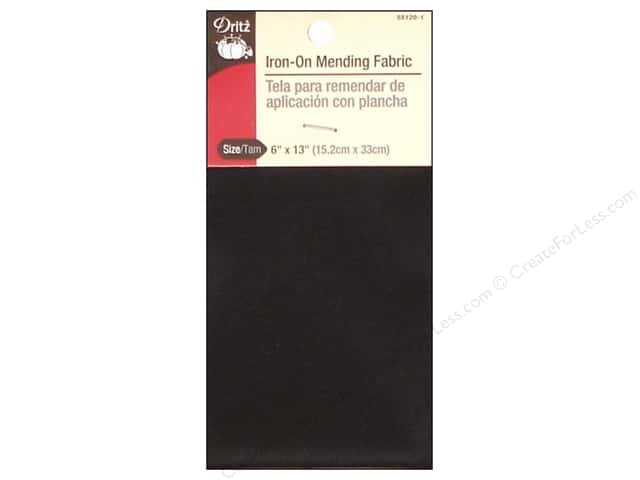 Iron-On Mending Fabric by Dritz Black 6 x 13 in.