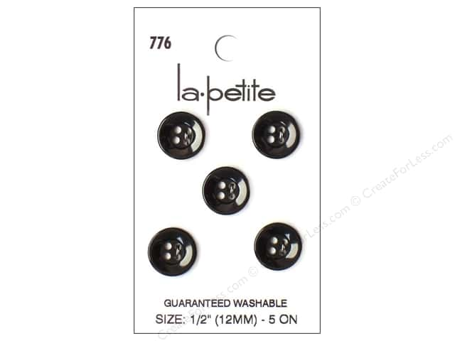 LaPetite 4 Hole Buttons 1/2 in. Black #776 5pc.