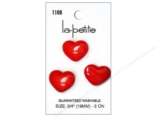 LaPetite Shank Buttons 3/4 in. Red Heart #1108 3pc.