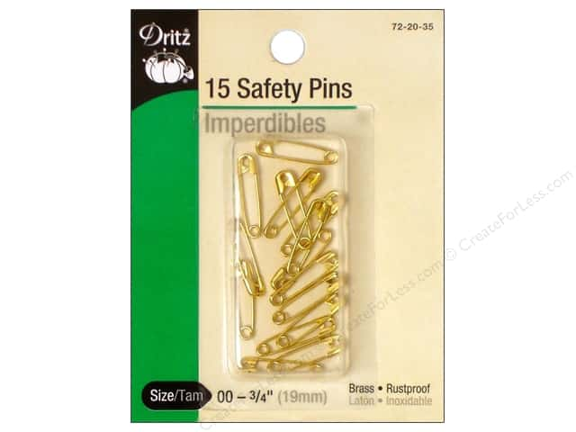 Dritz Safety Pins 3/4 in. Brass 15 pc.