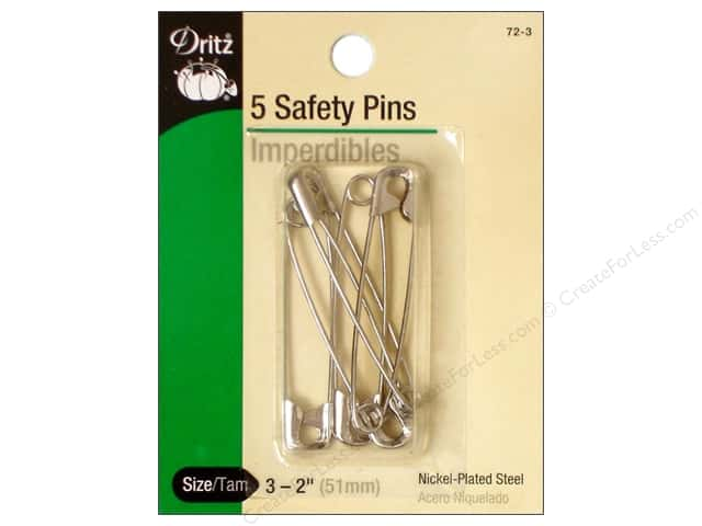 Safety Pins by Dritz 2 in. Nickel 5pc.