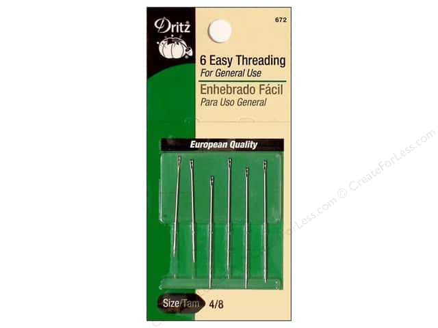 Dritz Easy Threading Needles Size 4/8 6 pc.
