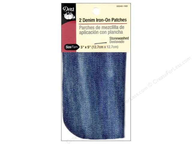 Denim Iron-On Patches by Dritz 2 pc. Stonewashed Blue 5 x 5 in.