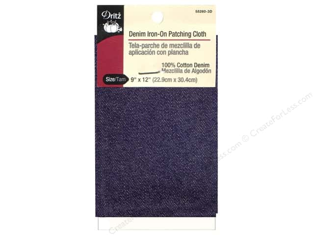 Denim Iron On Patches by Dritz Dark Blue 9 x 12 in.