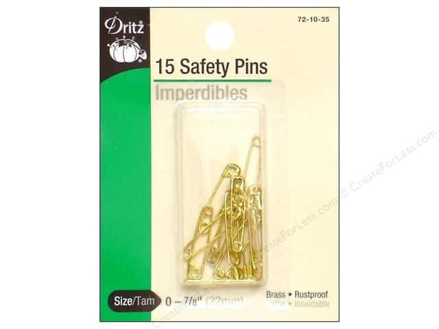 Safety Pins by Dritz 7/8 in. Brass 15pc