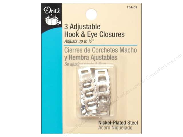 Adjustable Hooks and Eyes by Dritz Nickel 3pc.
